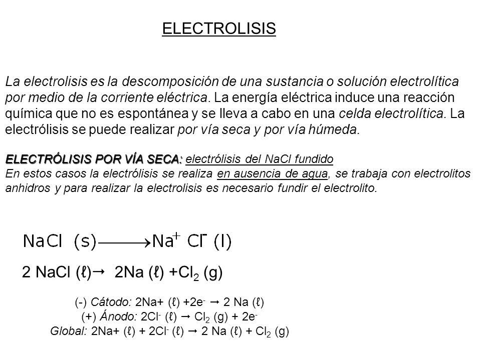 ELECTROLISIS 2 NaCl (ℓ) 2Na (ℓ) +Cl2 (g)