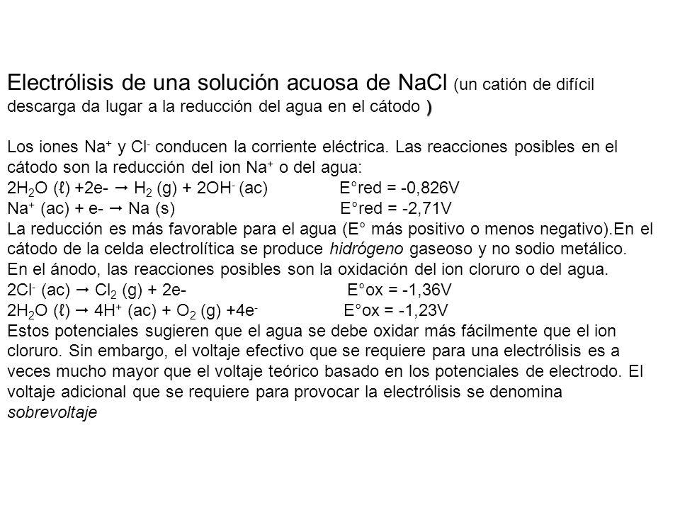 Electrólisis de una solución acuosa de NaCl (un catión de difícil descarga da lugar a la reducción del agua en el cátodo )