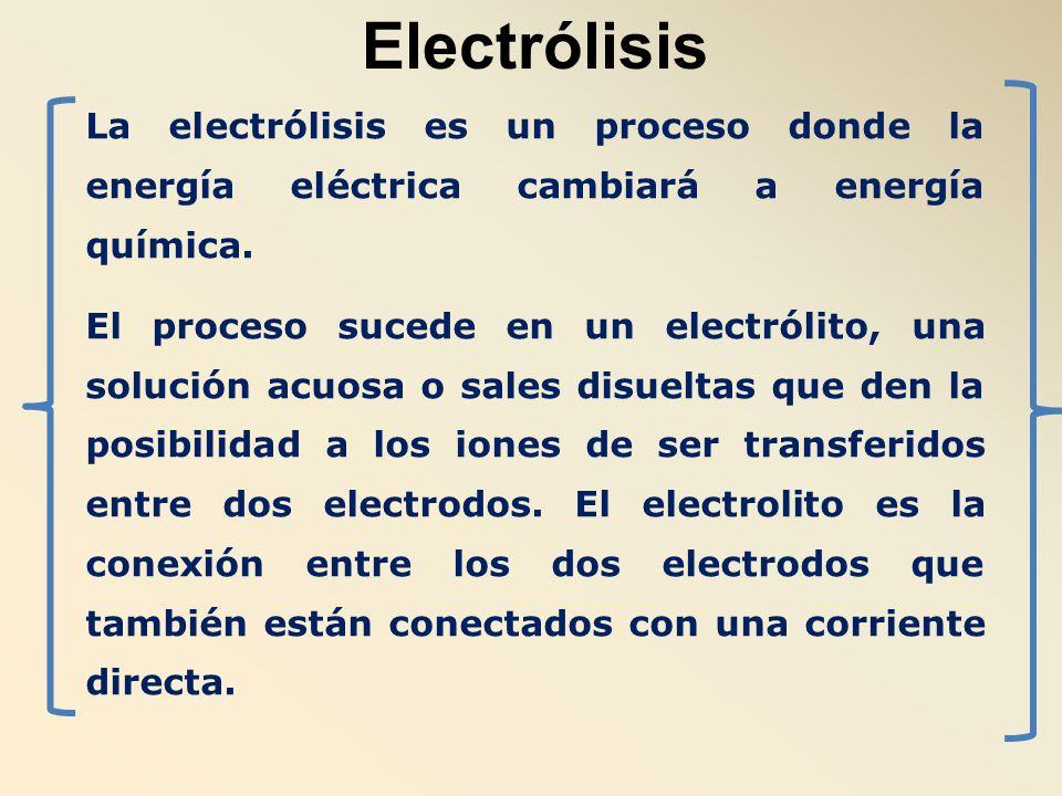 Electrólisis La electrólisis es un proceso donde la energía eléctrica cambiará a energía química.
