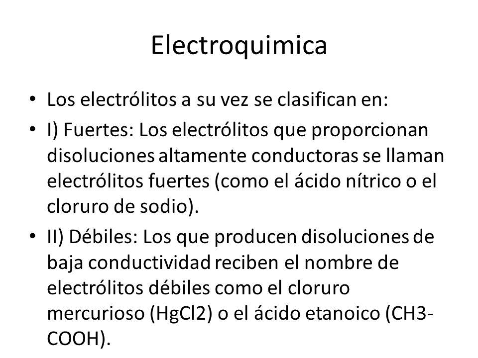 Electroquimica Los electrólitos a su vez se clasifican en: