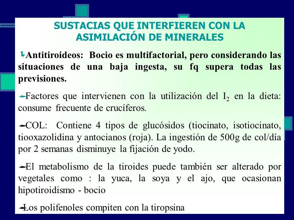 SUSTACIAS QUE INTERFIEREN CON LA ASIMILACIÓN DE MINERALES