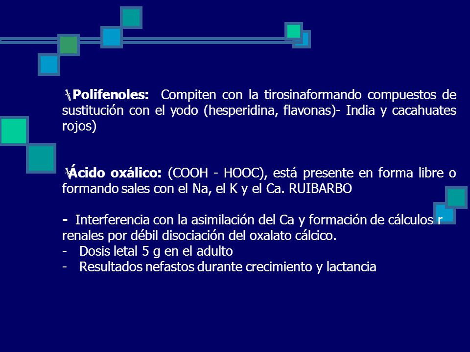 Polifenoles: Compiten con la tirosinaformando compuestos de sustitución con el yodo (hesperidina, flavonas)- India y cacahuates rojos)