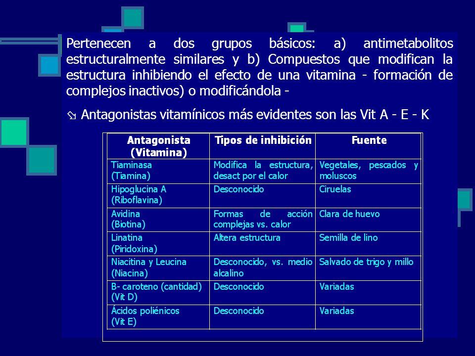 Pertenecen a dos grupos básicos: a) antimetabolitos estructuralmente similares y b) Compuestos que modifican la estructura inhibiendo el efecto de una vitamina - formación de complejos inactivos) o modificándola -
