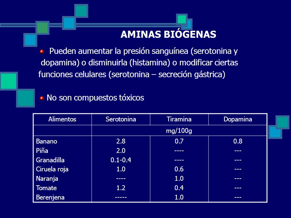 AMINAS BIÓGENAS Pueden aumentar la presión sanguínea (serotonina y
