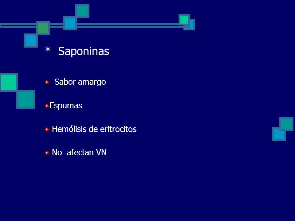 * Saponinas Sabor amargo Espumas Hemólisis de eritrocitos