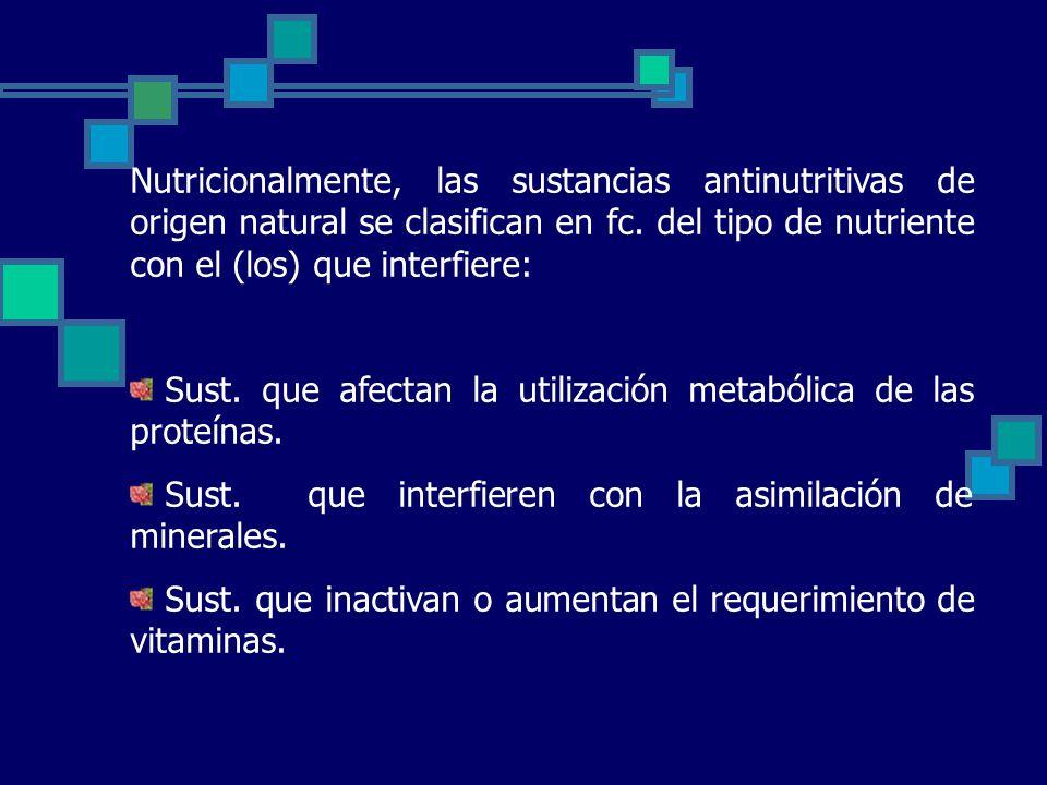 Nutricionalmente, las sustancias antinutritivas de origen natural se clasifican en fc. del tipo de nutriente con el (los) que interfiere: