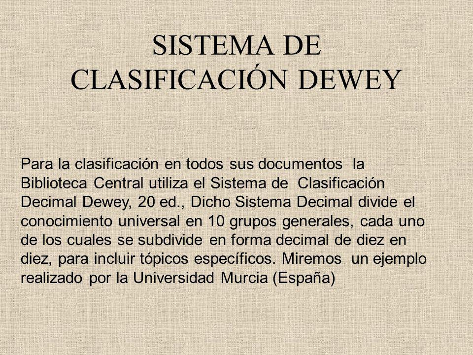 SISTEMA DE CLASIFICACIÓN DEWEY