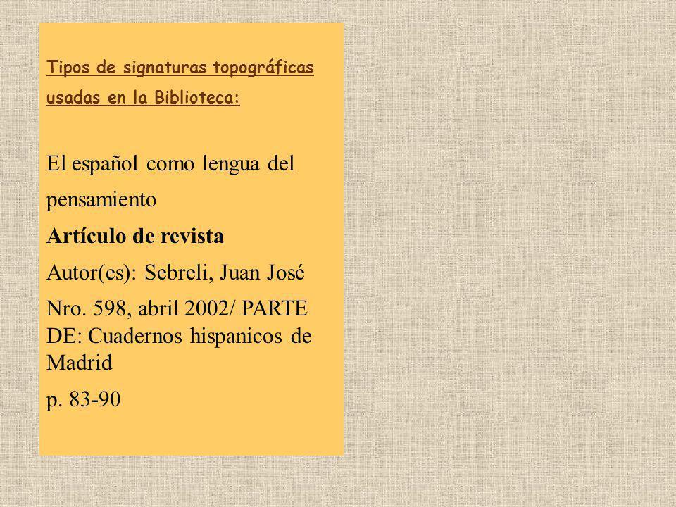 El español como lengua del pensamiento Artículo de revista