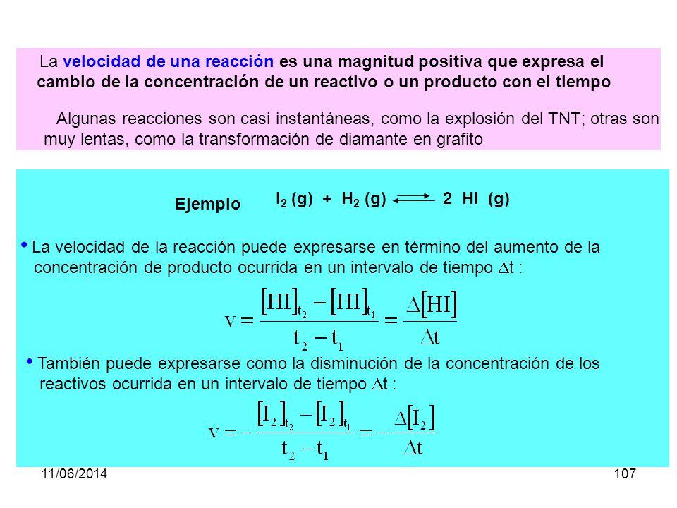 cambio de la concentración de un reactivo o un producto con el tiempo