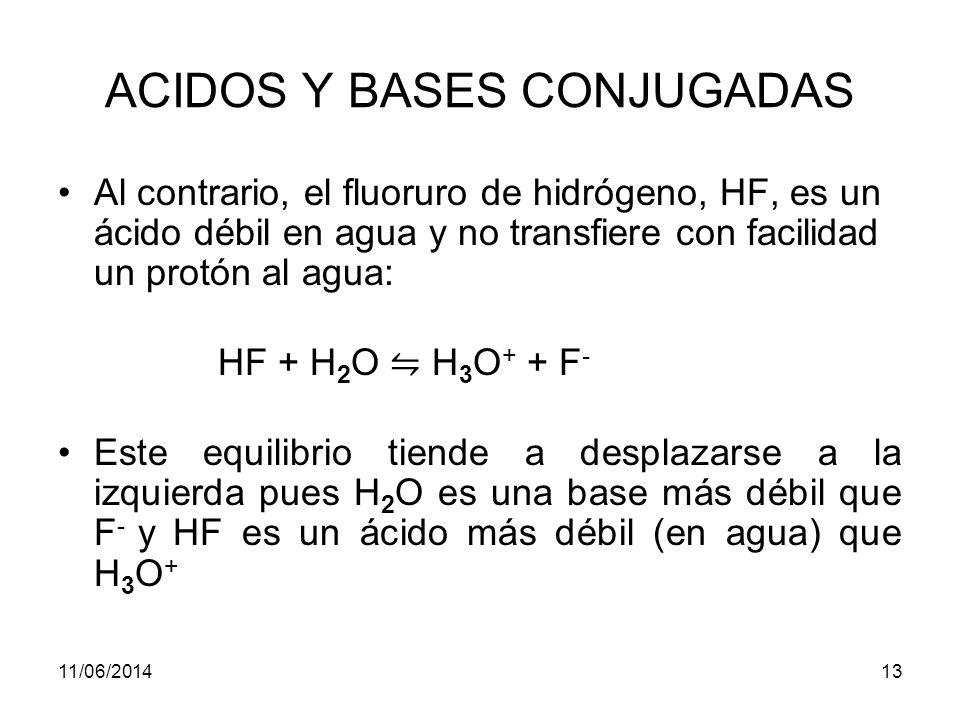 ACIDOS Y BASES CONJUGADAS