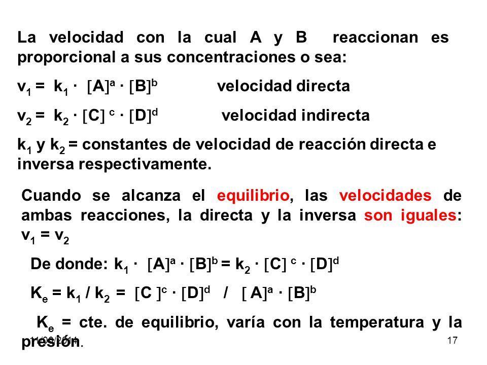 v1 = k1 · Aa · Bb velocidad directa