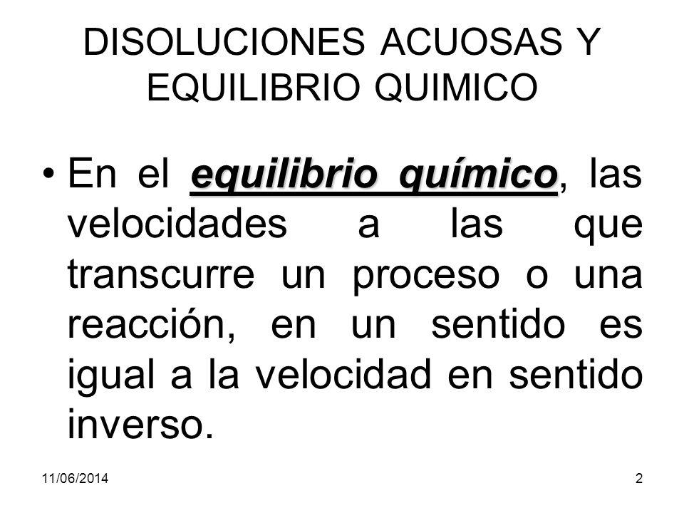 DISOLUCIONES ACUOSAS Y EQUILIBRIO QUIMICO