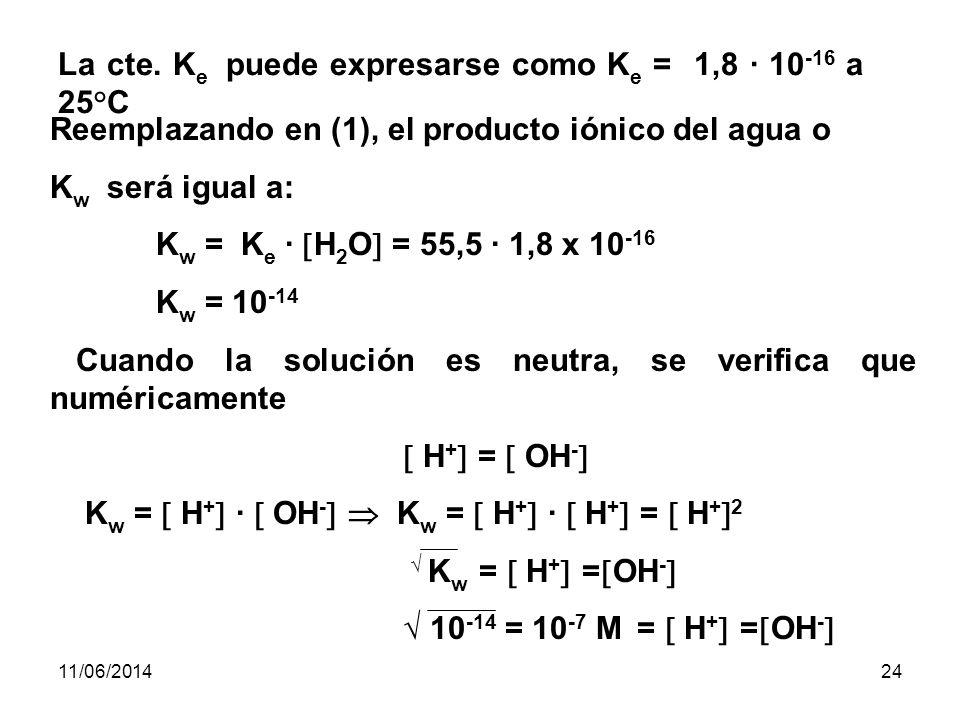 La cte. Ke puede expresarse como Ke = 1,8 · 10-16 a 25°C