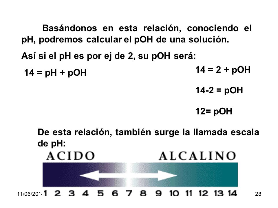 Así si el pH es por ej de 2, su pOH será: 14 = pH + pOH