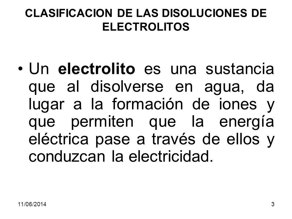 CLASIFICACION DE LAS DISOLUCIONES DE ELECTROLITOS