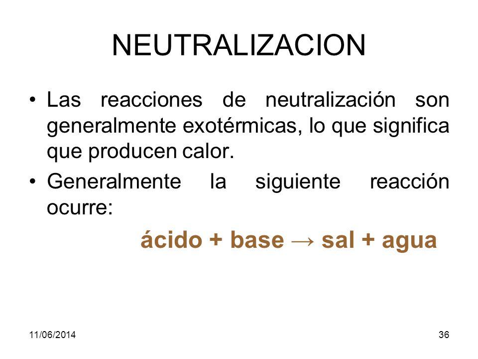 NEUTRALIZACION Las reacciones de neutralización son generalmente exotérmicas, lo que significa que producen calor.