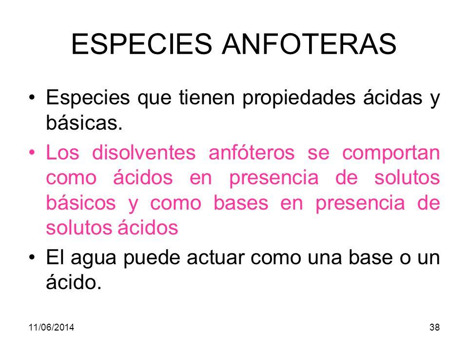 ESPECIES ANFOTERAS Especies que tienen propiedades ácidas y básicas.