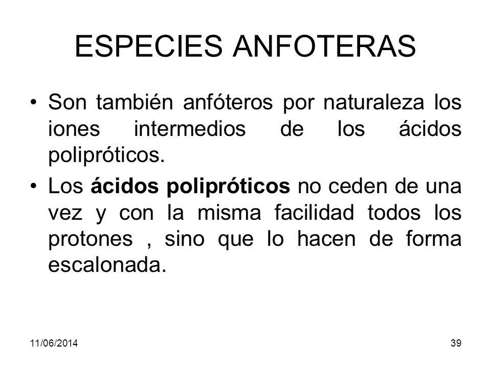 ESPECIES ANFOTERAS Son también anfóteros por naturaleza los iones intermedios de los ácidos polipróticos.