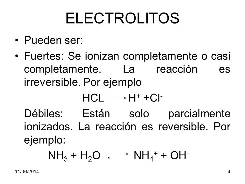 ELECTROLITOS Pueden ser: