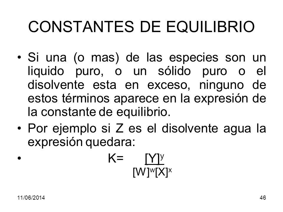 CONSTANTES DE EQUILIBRIO