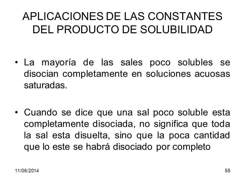 APLICACIONES DE LAS CONSTANTES DEL PRODUCTO DE SOLUBILIDAD