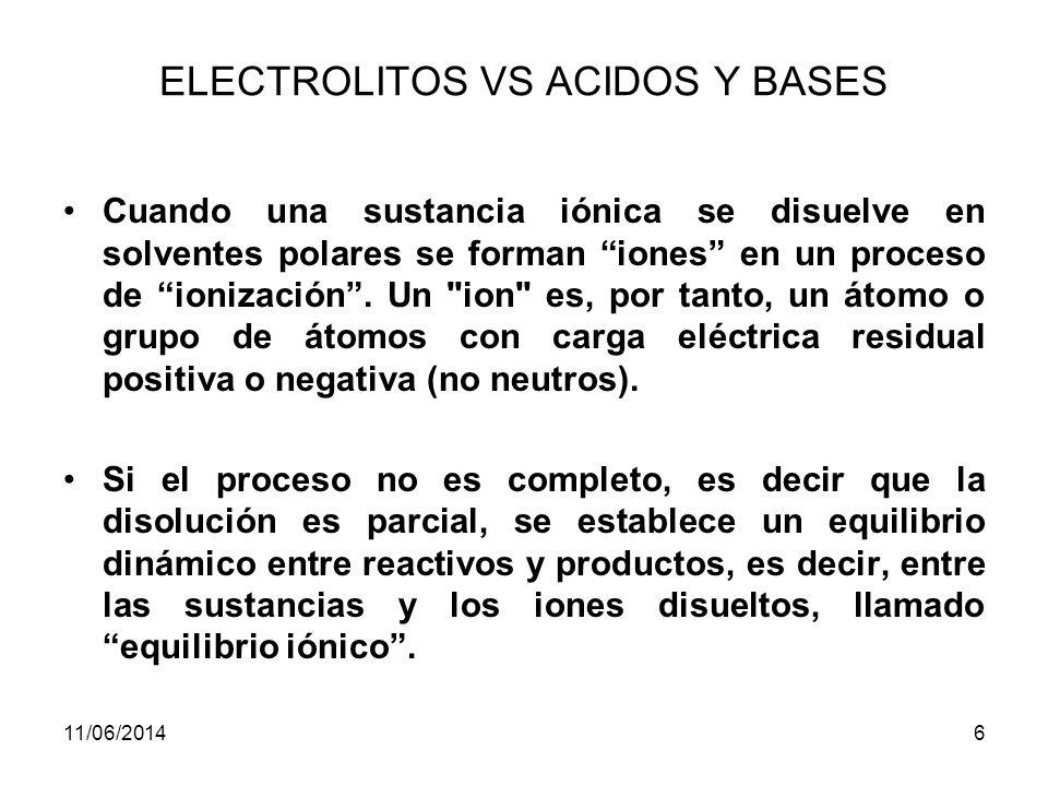 ELECTROLITOS VS ACIDOS Y BASES