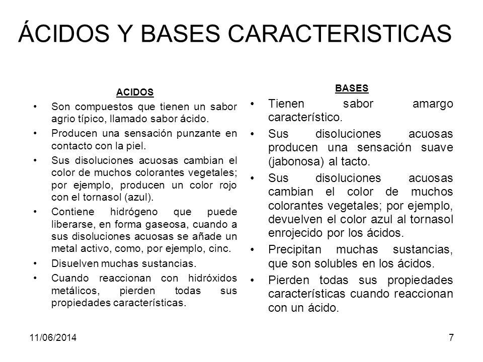 ÁCIDOS Y BASES CARACTERISTICAS