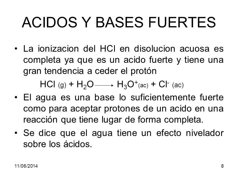 ACIDOS Y BASES FUERTES La ionizacion del HCl en disolucion acuosa es completa ya que es un acido fuerte y tiene una gran tendencia a ceder el protón.