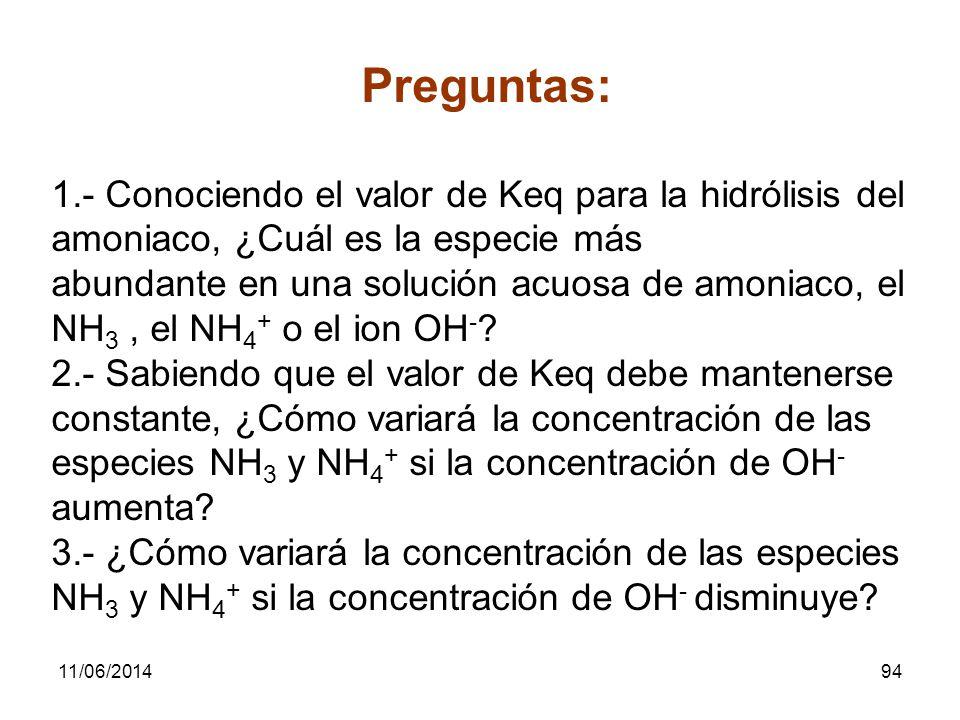 Preguntas: 1.- Conociendo el valor de Keq para la hidrólisis del amoniaco, ¿Cuál es la especie más.