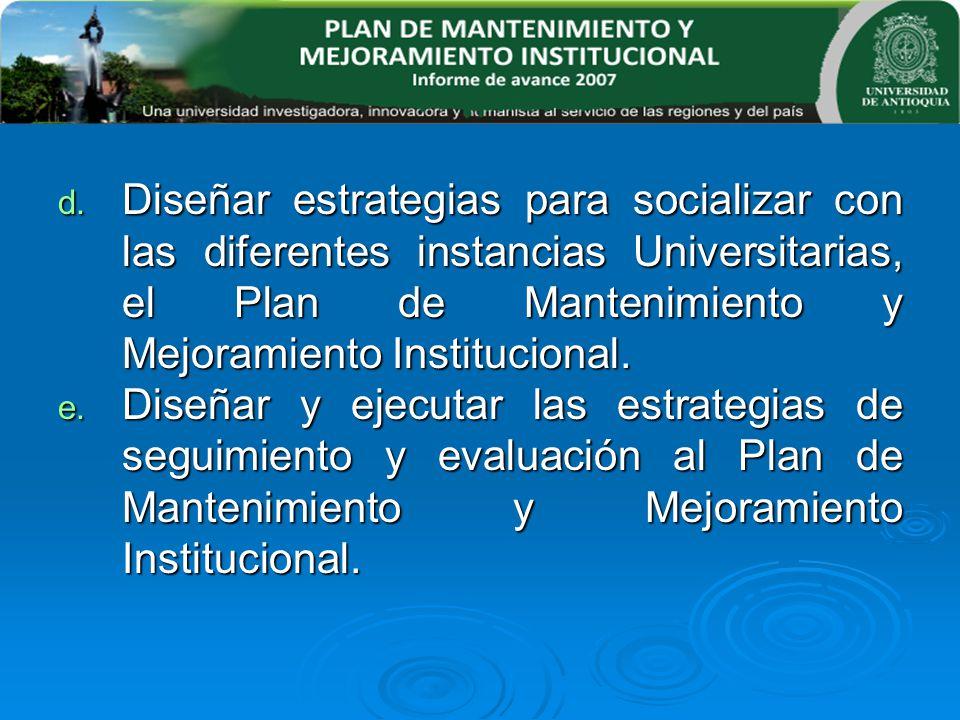 Diseñar estrategias para socializar con las diferentes instancias Universitarias, el Plan de Mantenimiento y Mejoramiento Institucional.