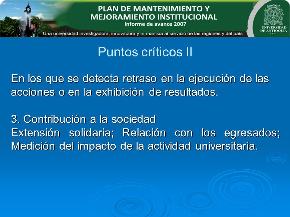 Puntos críticos II En los que se detecta retraso en la ejecución de las acciones o en la exhibición de resultados.