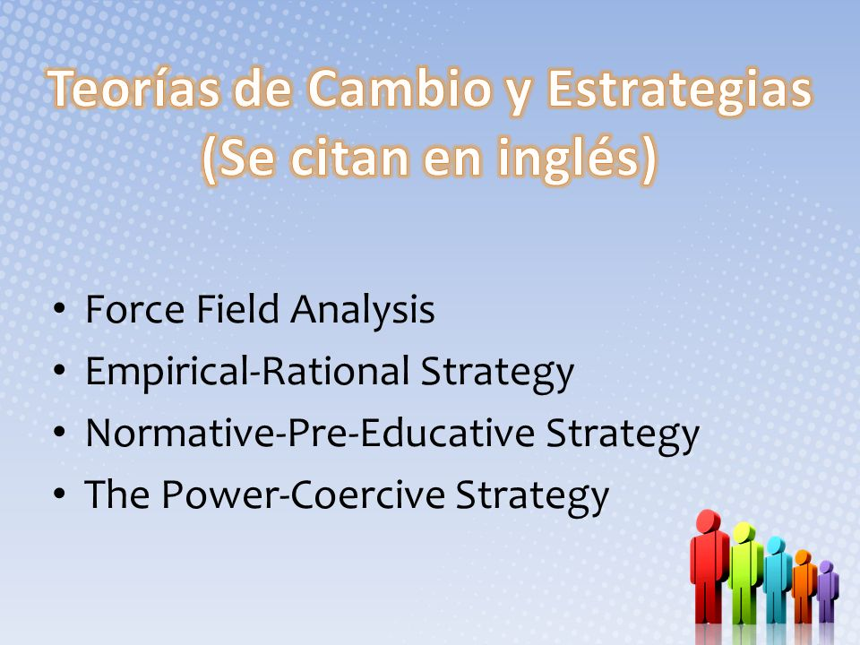 Teorías de Cambio y Estrategias (Se citan en inglés)