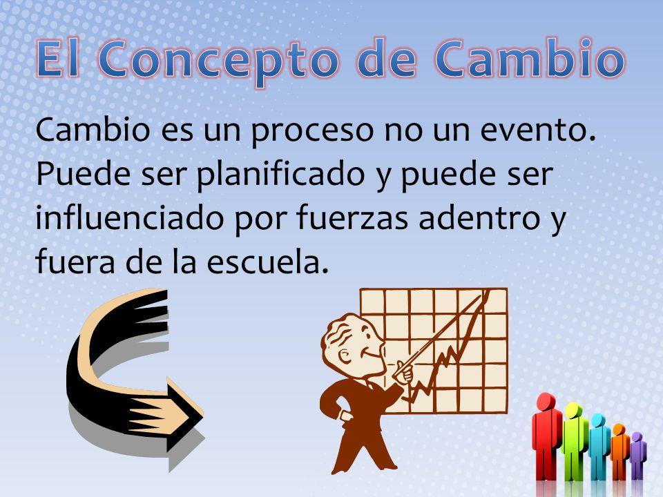 El Concepto de Cambio Cambio es un proceso no un evento.