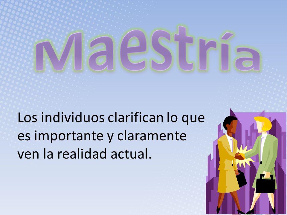 Maestría Los individuos clarifican lo que es importante y claramente ven la realidad actual.