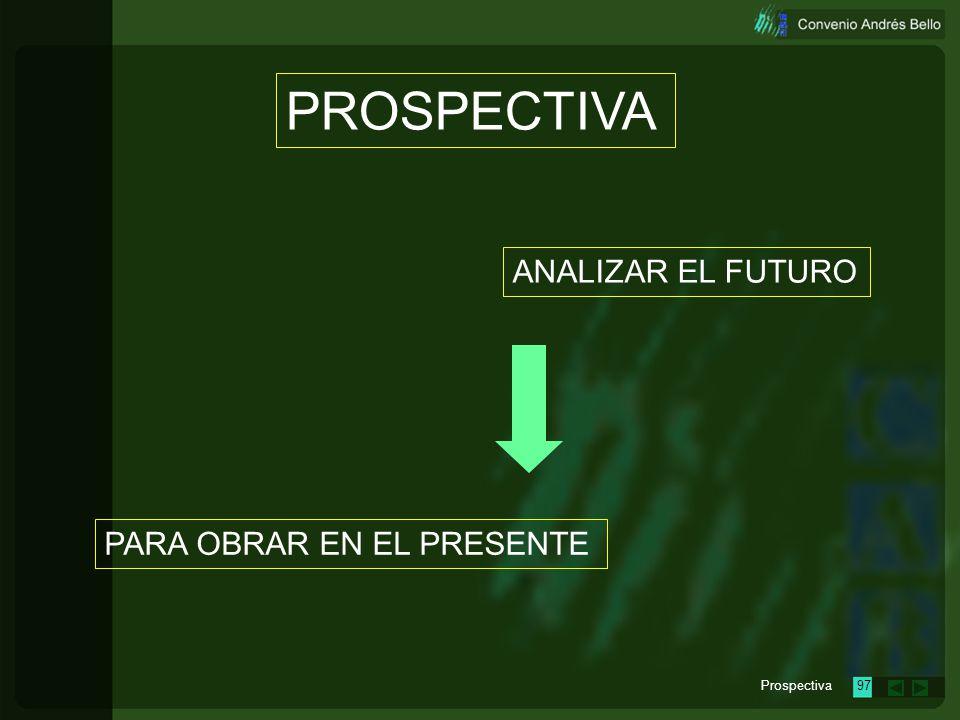 PROSPECTIVA ANALIZAR EL FUTURO PARA OBRAR EN EL PRESENTE