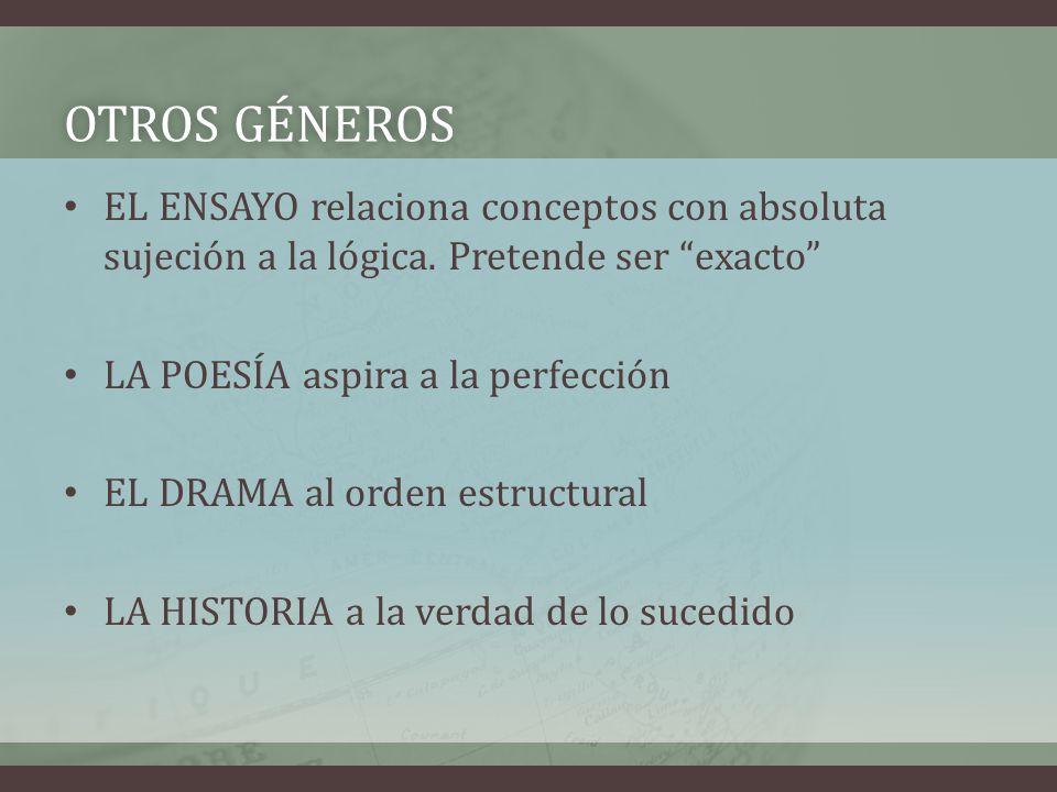 Otros géneros EL ENSAYO relaciona conceptos con absoluta sujeción a la lógica. Pretende ser exacto