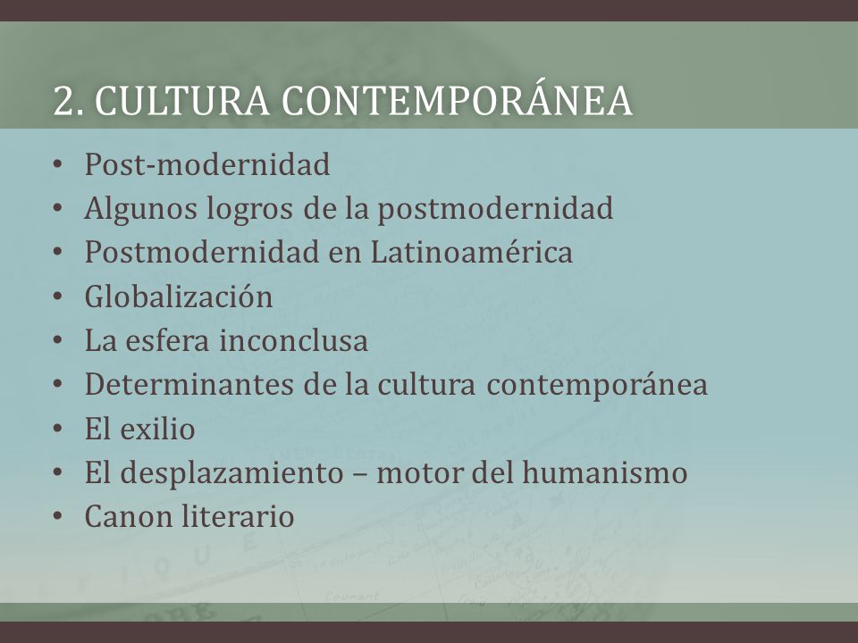 2. cultura contemporánea