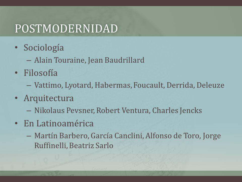 POSTMODERNIDAD Sociología Filosofía Arquitectura En Latinoamérica