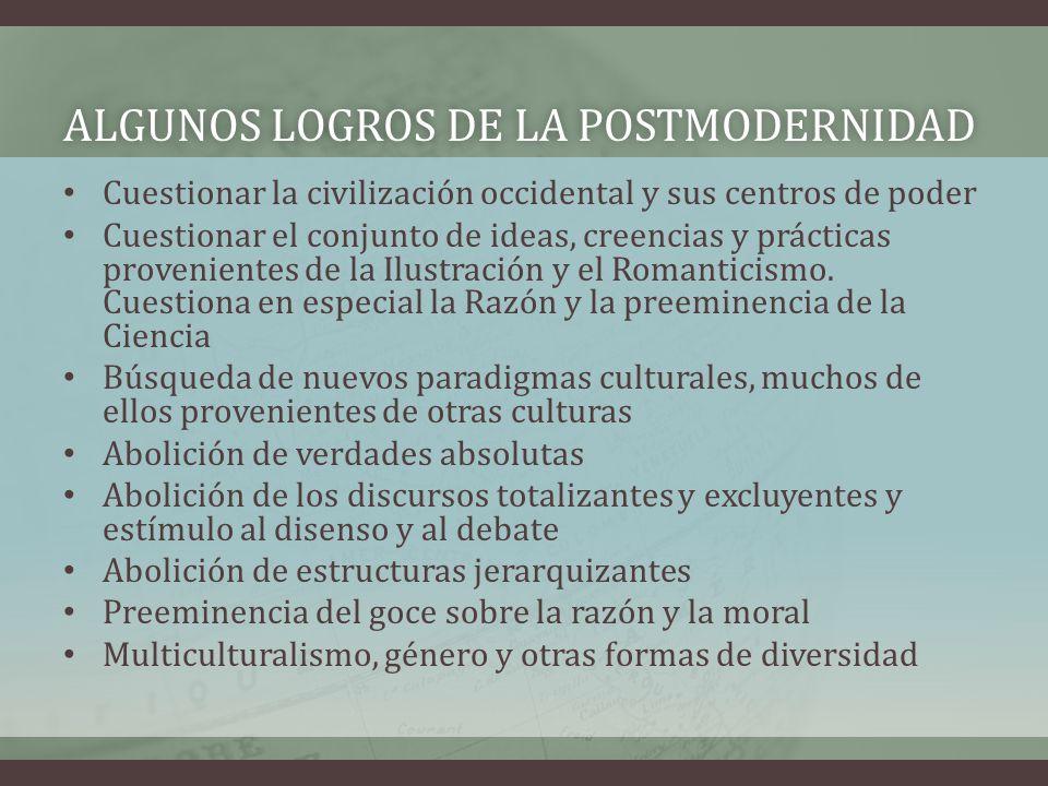 ALGUNOS LOGROS DE LA POSTMODERNIDAD