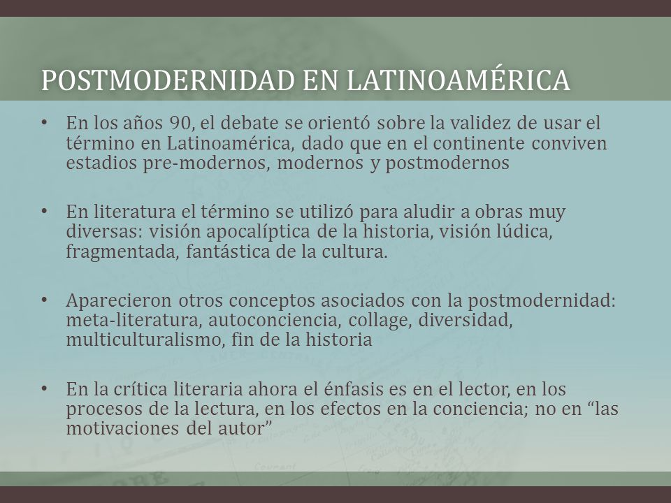 POSTMODERNIDAD EN LATINOAMÉRICA