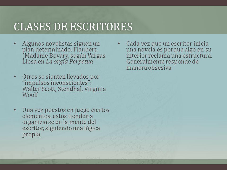 CLASES DE ESCRITORES Algunos novelistas siguen un plan determinado: Flaubert. (Madame Bovary, según Vargas Llosa en La orgía Perpetua.