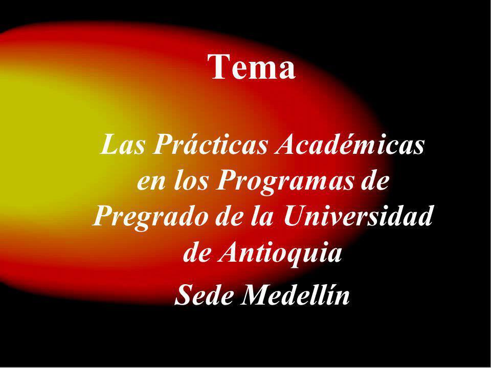Tema Las Prácticas Académicas en los Programas de Pregrado de la Universidad de Antioquia.