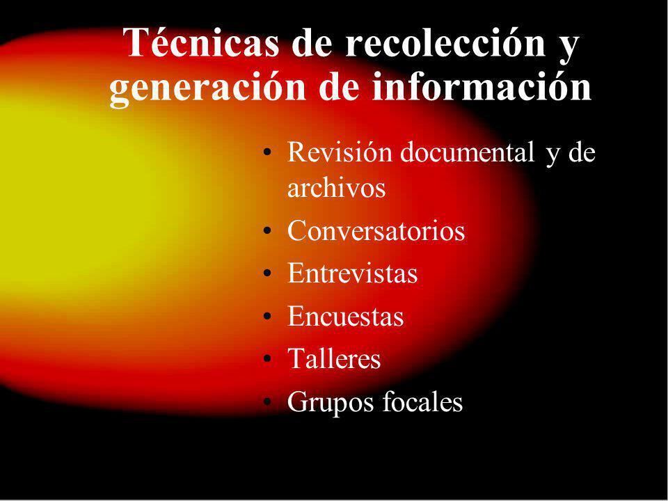 Técnicas de recolección y generación de información