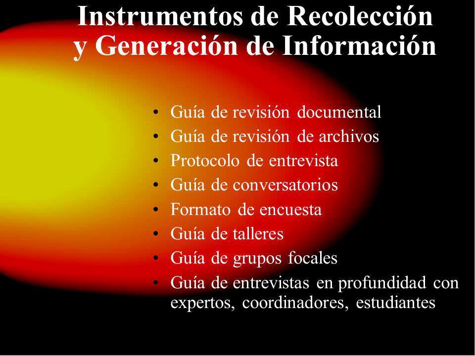 Instrumentos de Recolección y Generación de Información