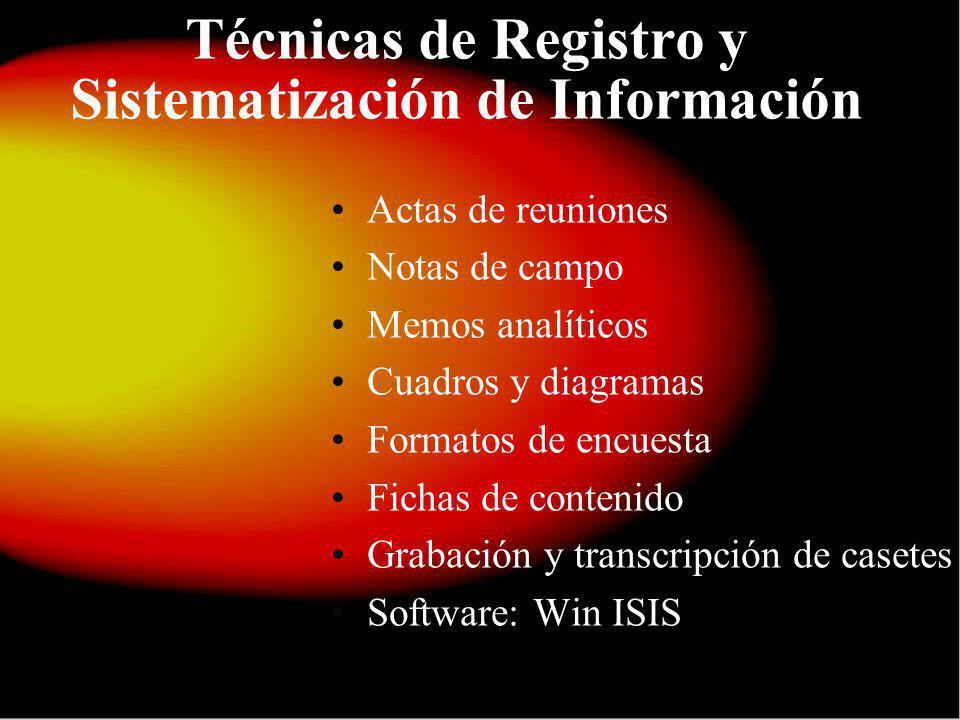 Técnicas de Registro y Sistematización de Información