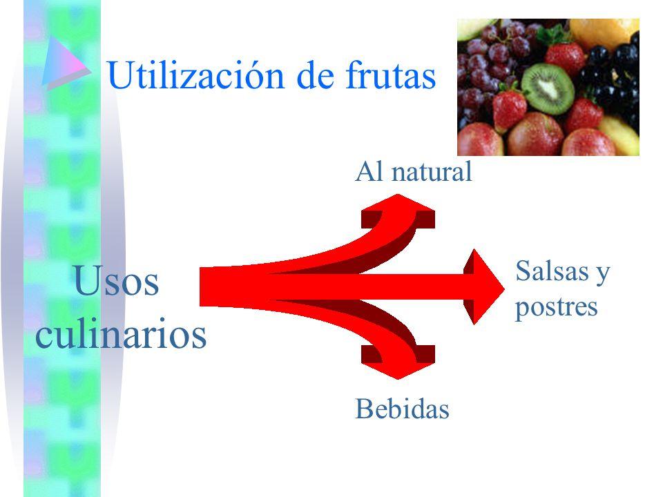 Usos culinarios Utilización de frutas Al natural Salsas y postres
