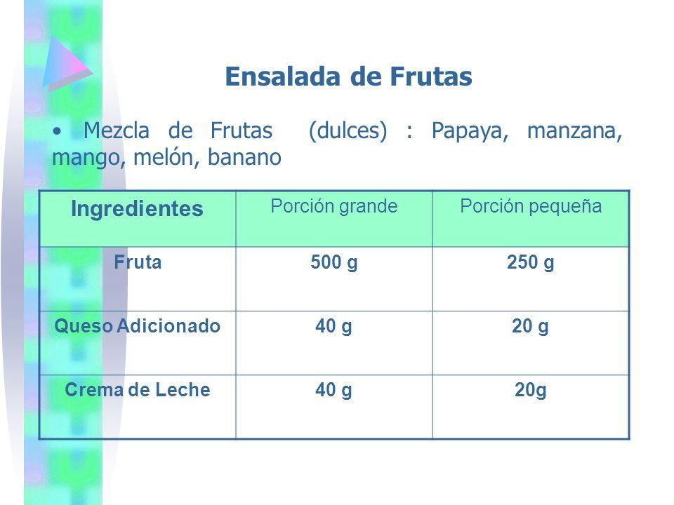 Ensalada de Frutas Ingredientes