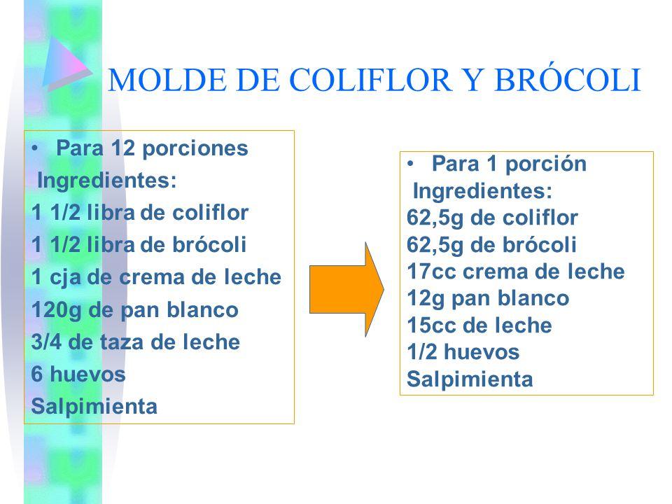 MOLDE DE COLIFLOR Y BRÓCOLI