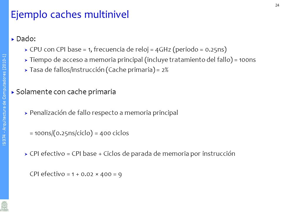Ejemplo caches multinivel