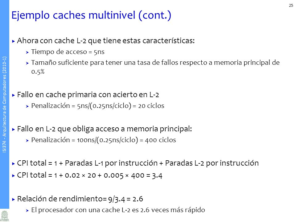 Ejemplo caches multinivel (cont.)